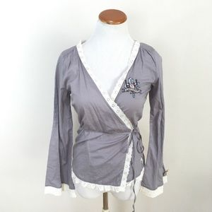 ODD MOLLY Wrap Gray Embroidered Top Blouse